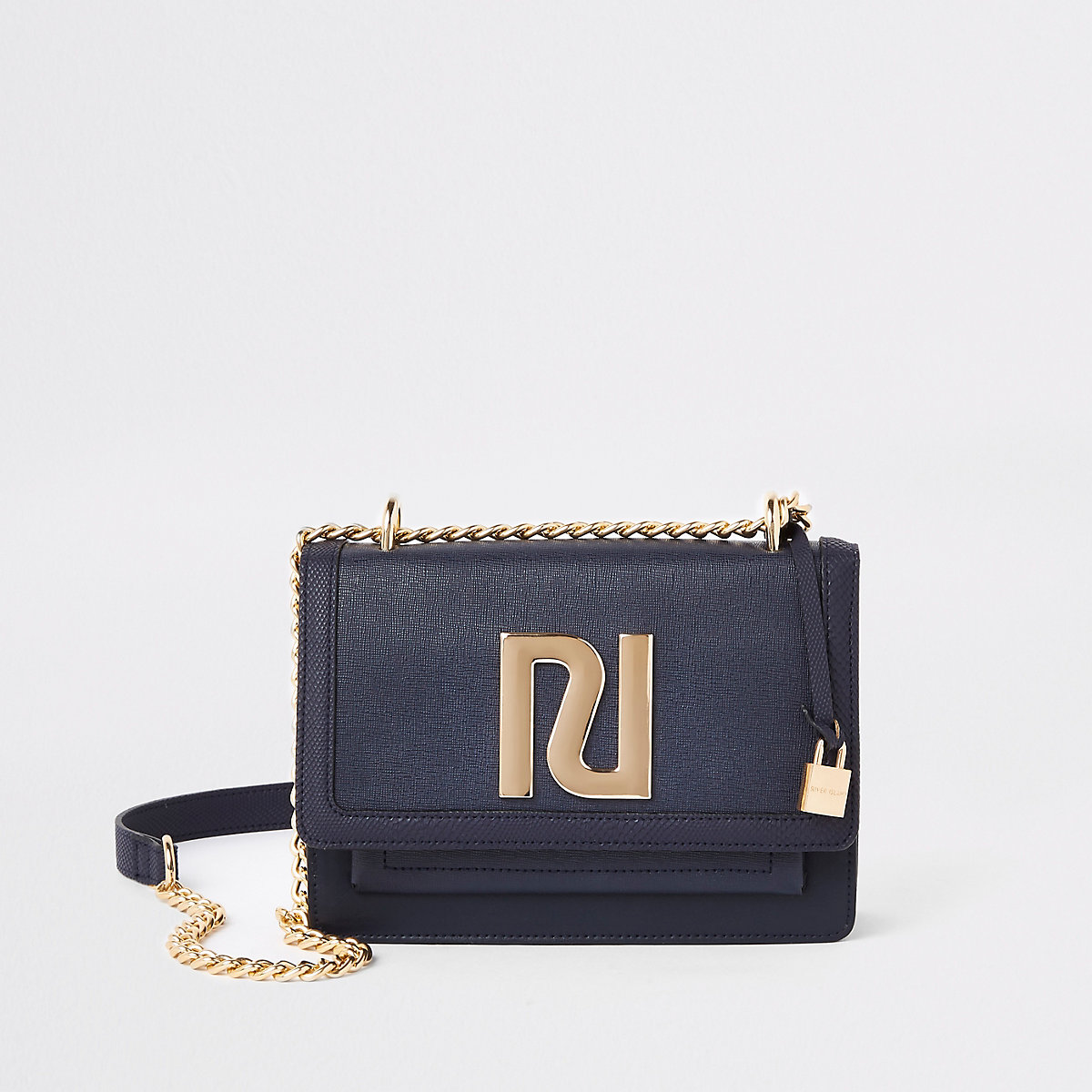 Navy RI chain cross body bag