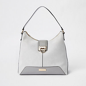 Light grey lock front slouch bag
