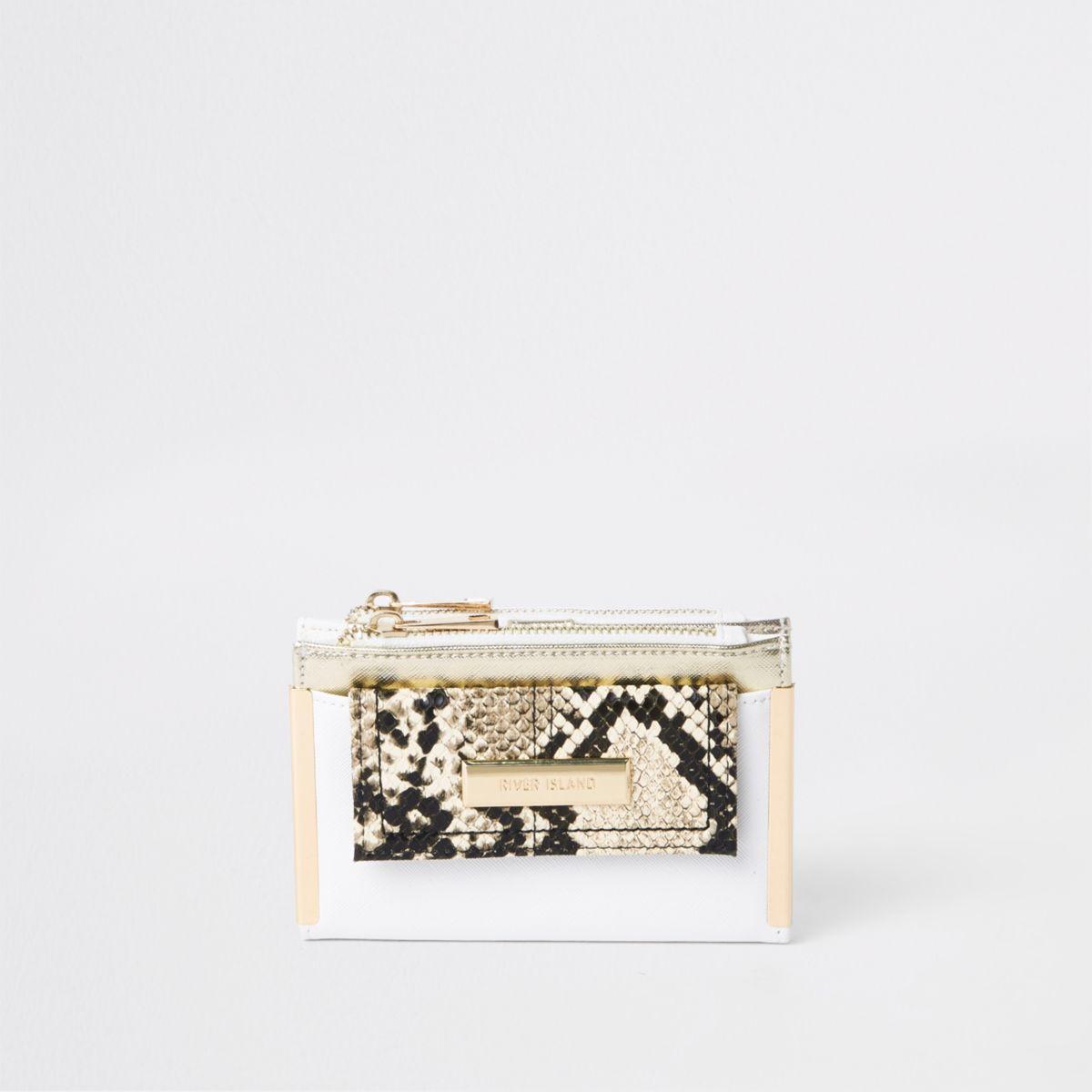 White snake print mini foldout purse