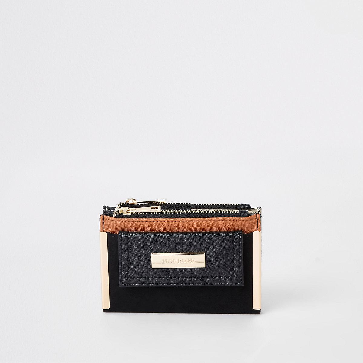 Black contrast mini foldout purse