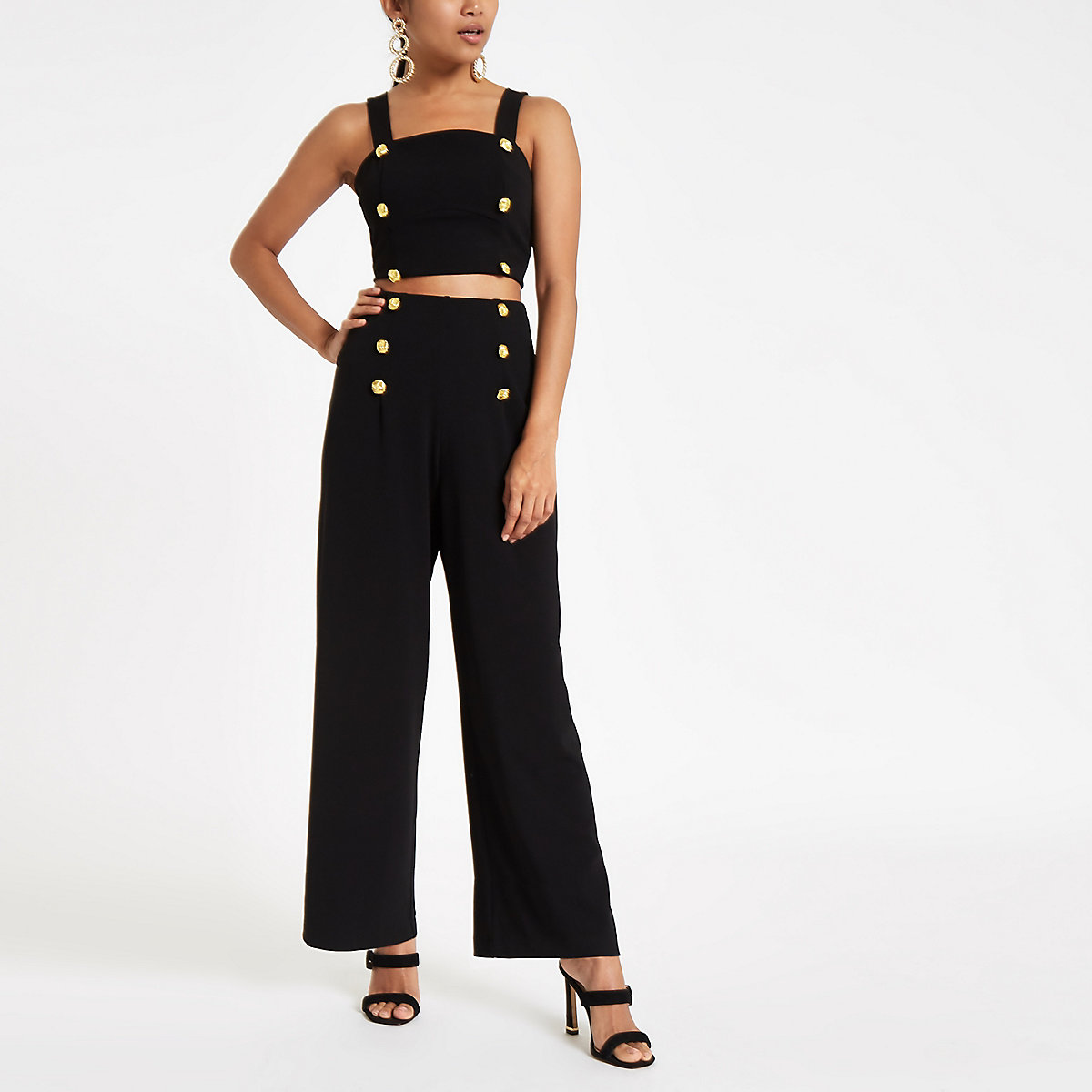 Petite black wide leg high waisted trousers
