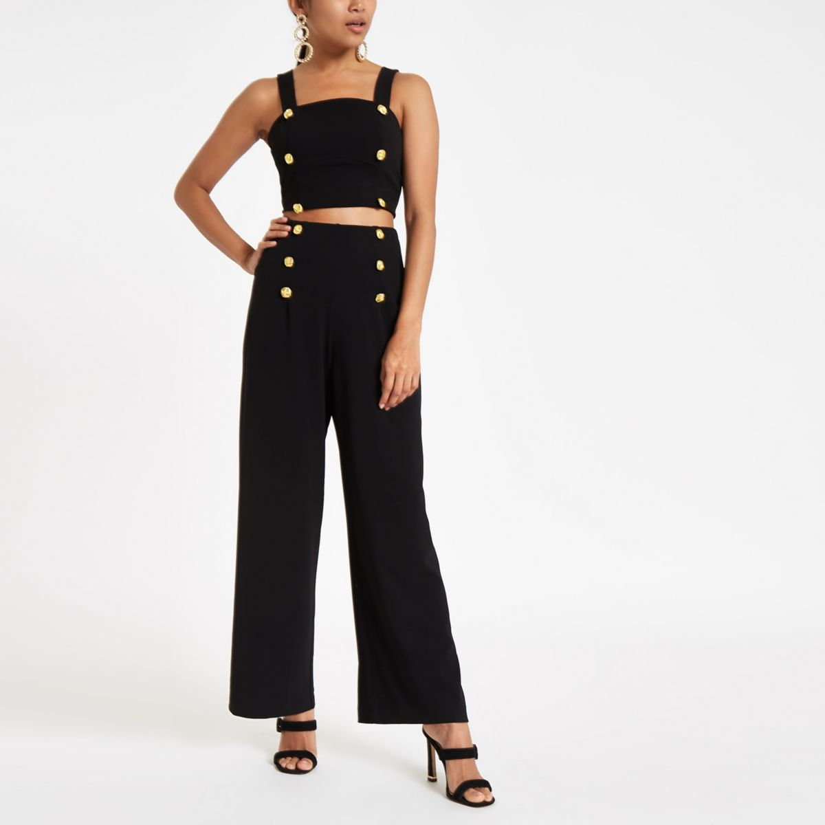 Petite black wide leg high waisted trousers