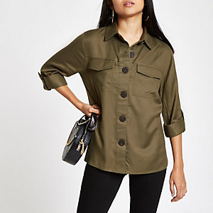 Petite khaki button front shacket