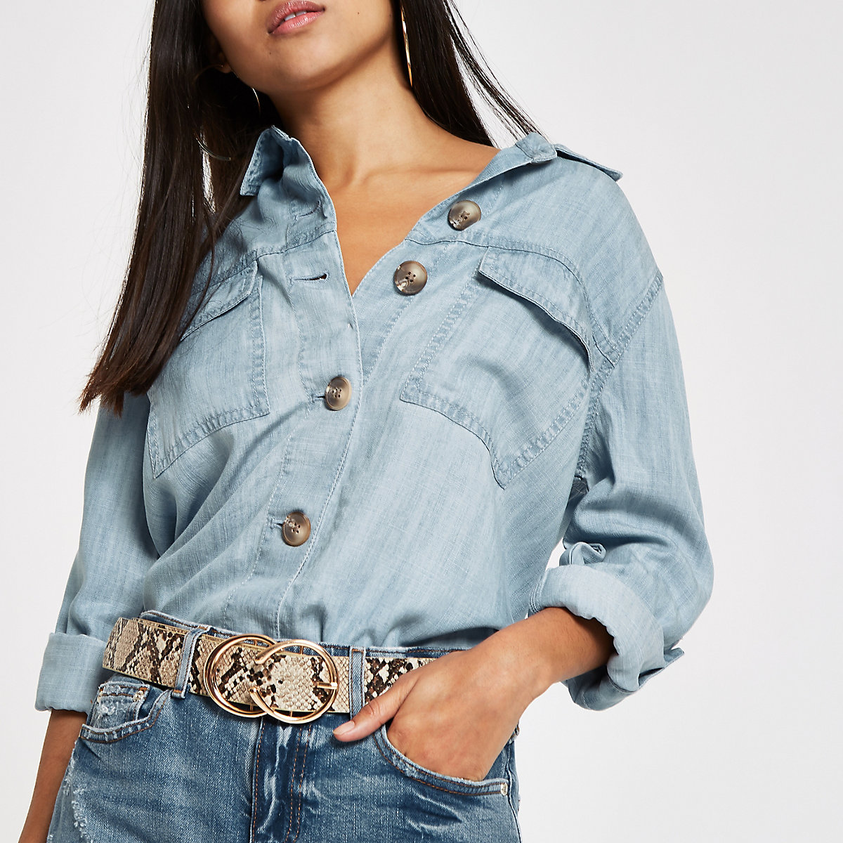 Petite light blue button front denim shacket