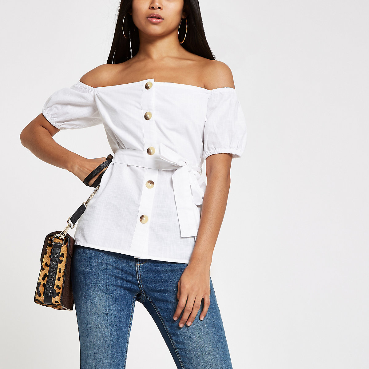 Petite white bardot button top