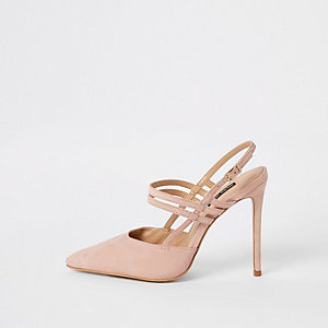 Light pink leather strappy court shoes