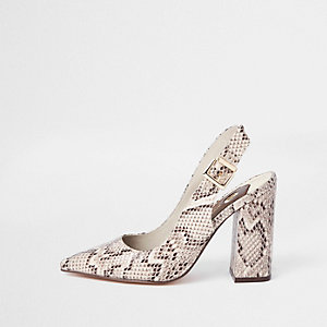 Beige snake print sling back court shoes