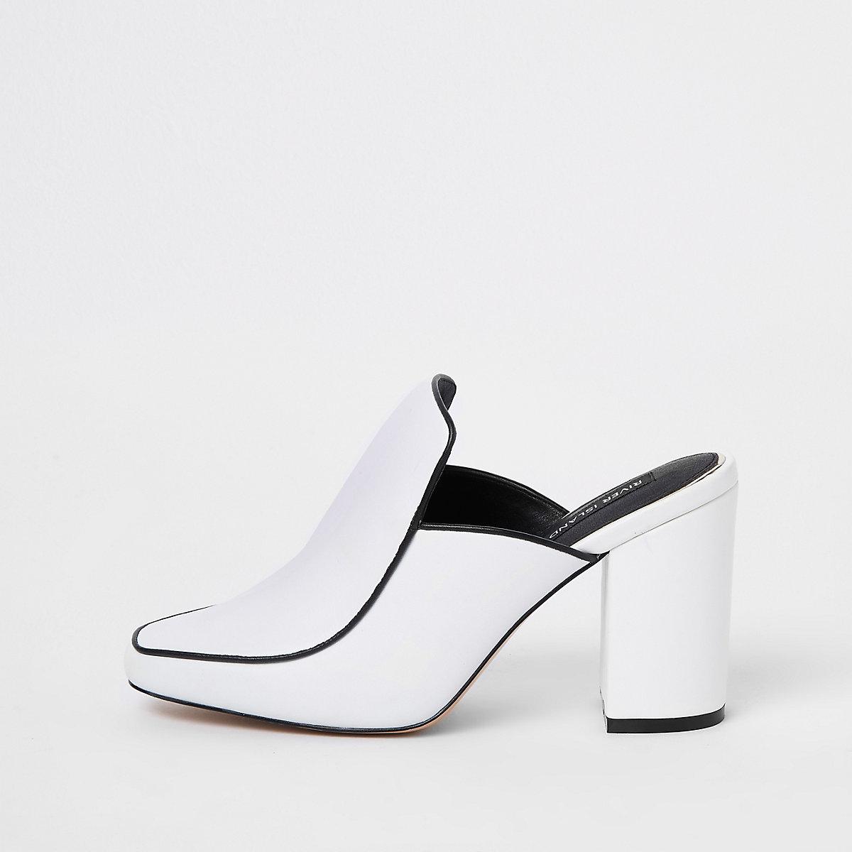 White leather closed toe mules