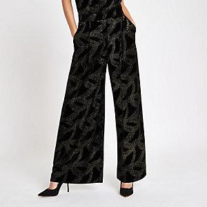 Pantalon large noir orné de perles