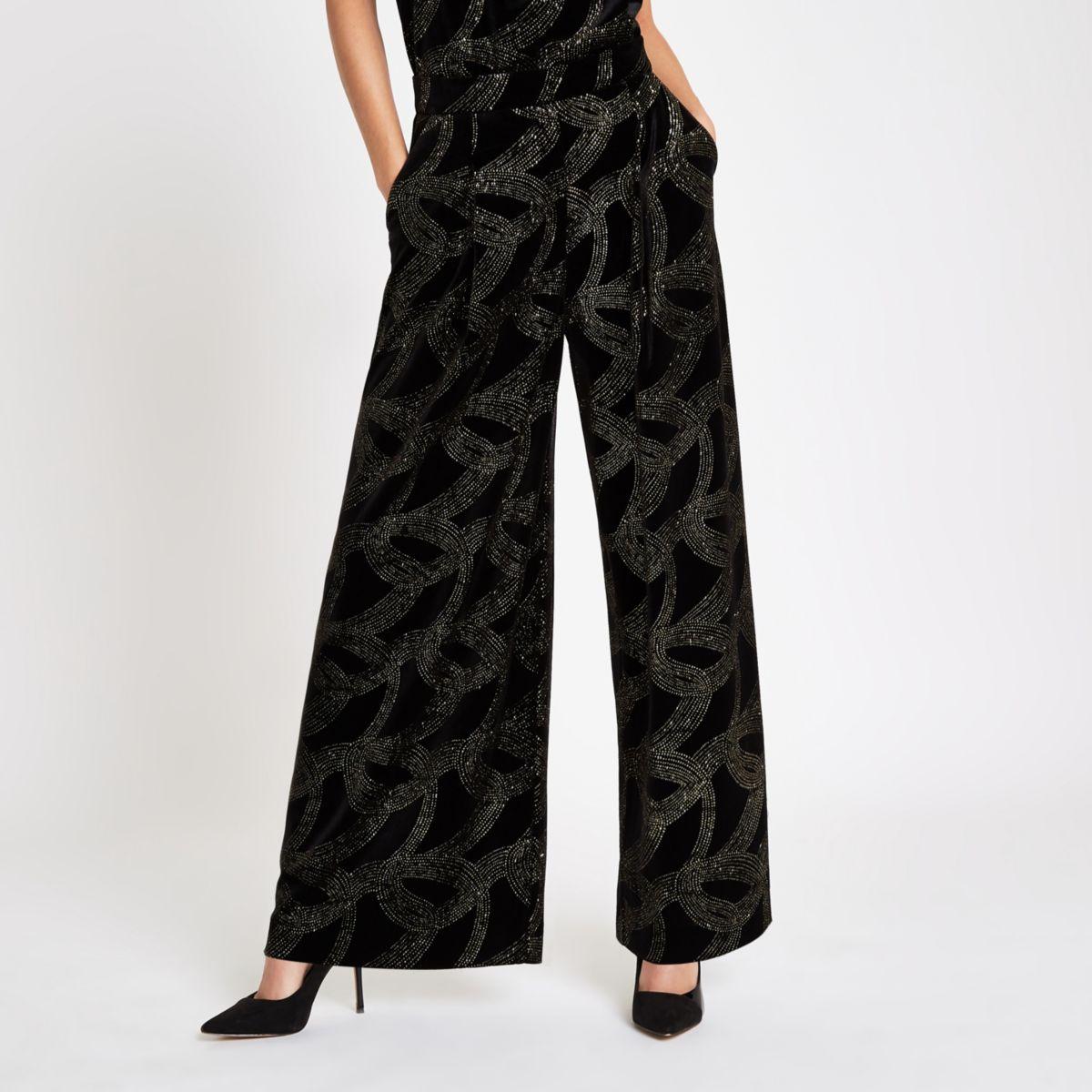 Black glitter embellished wide leg pants