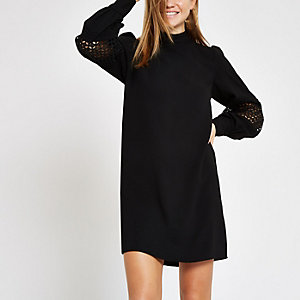 Black high neck long sleeve swing dress