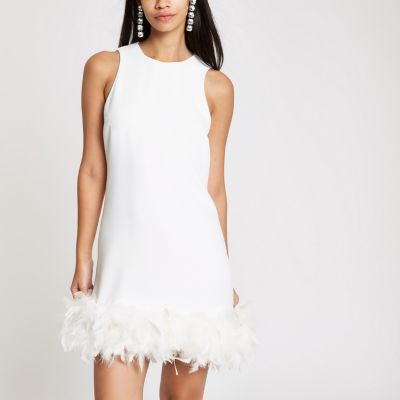White Feather Trim Swing Dress by River Island