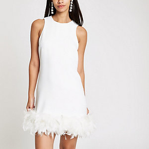White feather trim swing dress