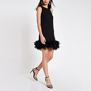 Black feather trim swing dress