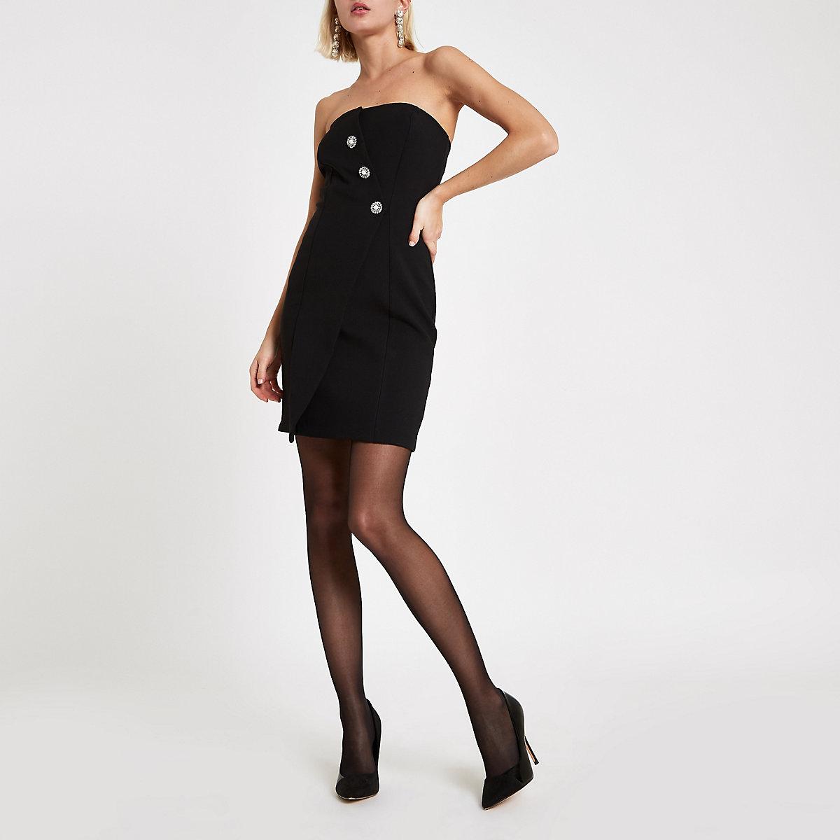 Black button front bandeau mini dress