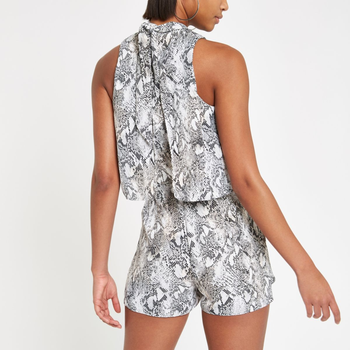 8d84b64fd0f0 Black snake print high neck tiered playsuit - Playsuits - Playsuits    Jumpsuits - women