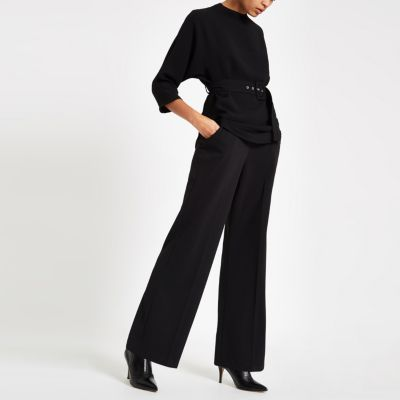 Black Belted Kimono Sleeve Blouse by River Island