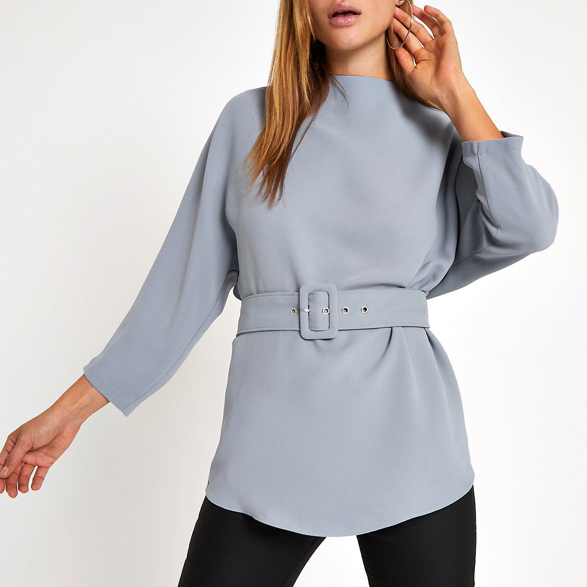 Grey loose fit belted top