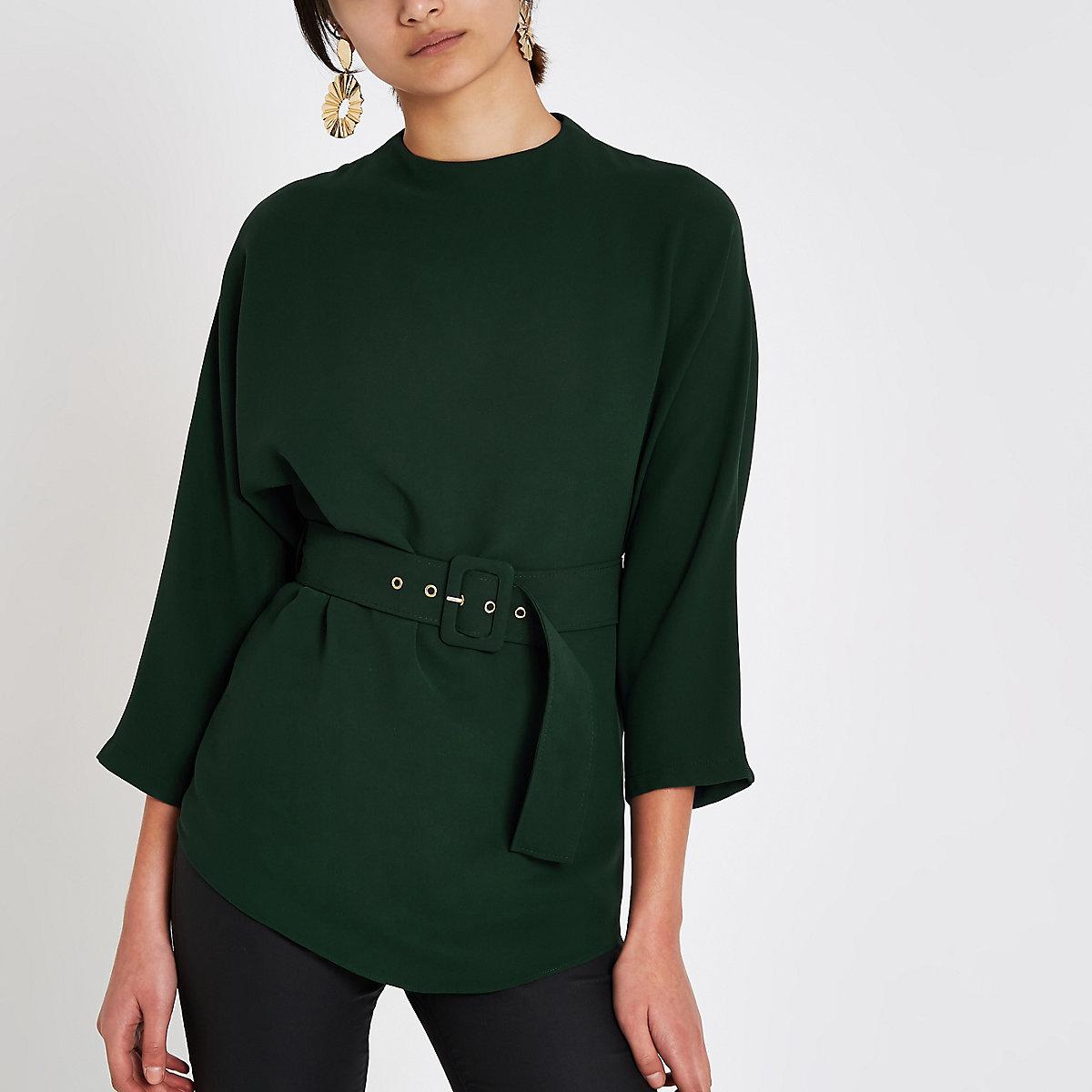 Green belted kimono sleeve blouse