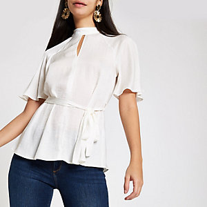 White tie waist batwing sleeve blouse