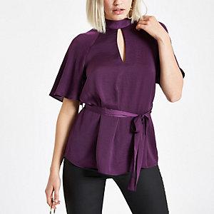 Purple short sleeve tie front blouse