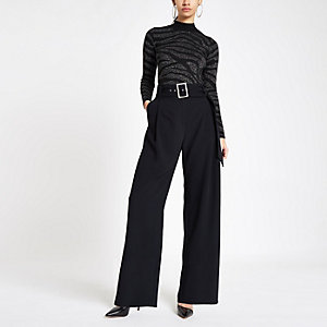 Black rhinestone buckle wide leg pants