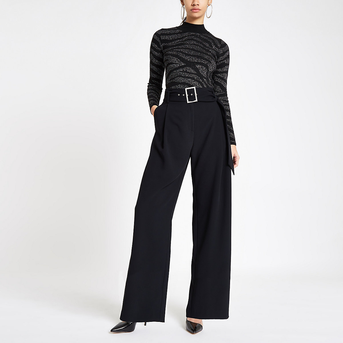 Black diamante buckle wide leg trousers