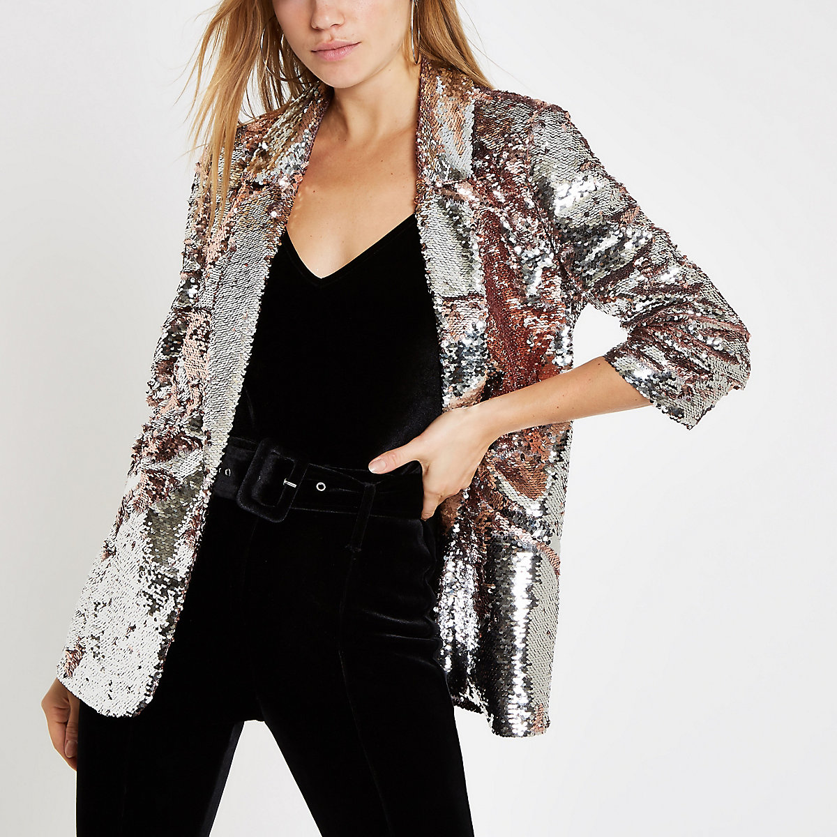 Pink sequin ruched sleeve blazer