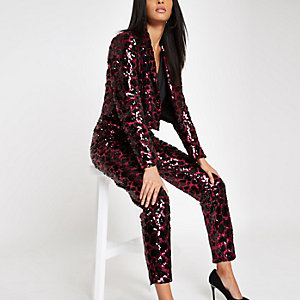 Pink leopard print sequin blazer