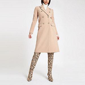 Langer, zweireihiger Mantel in Hellbraun