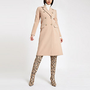 Light brown double breasted longline coat