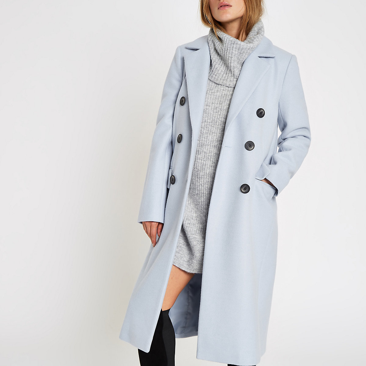 Blue double breasted longline coat