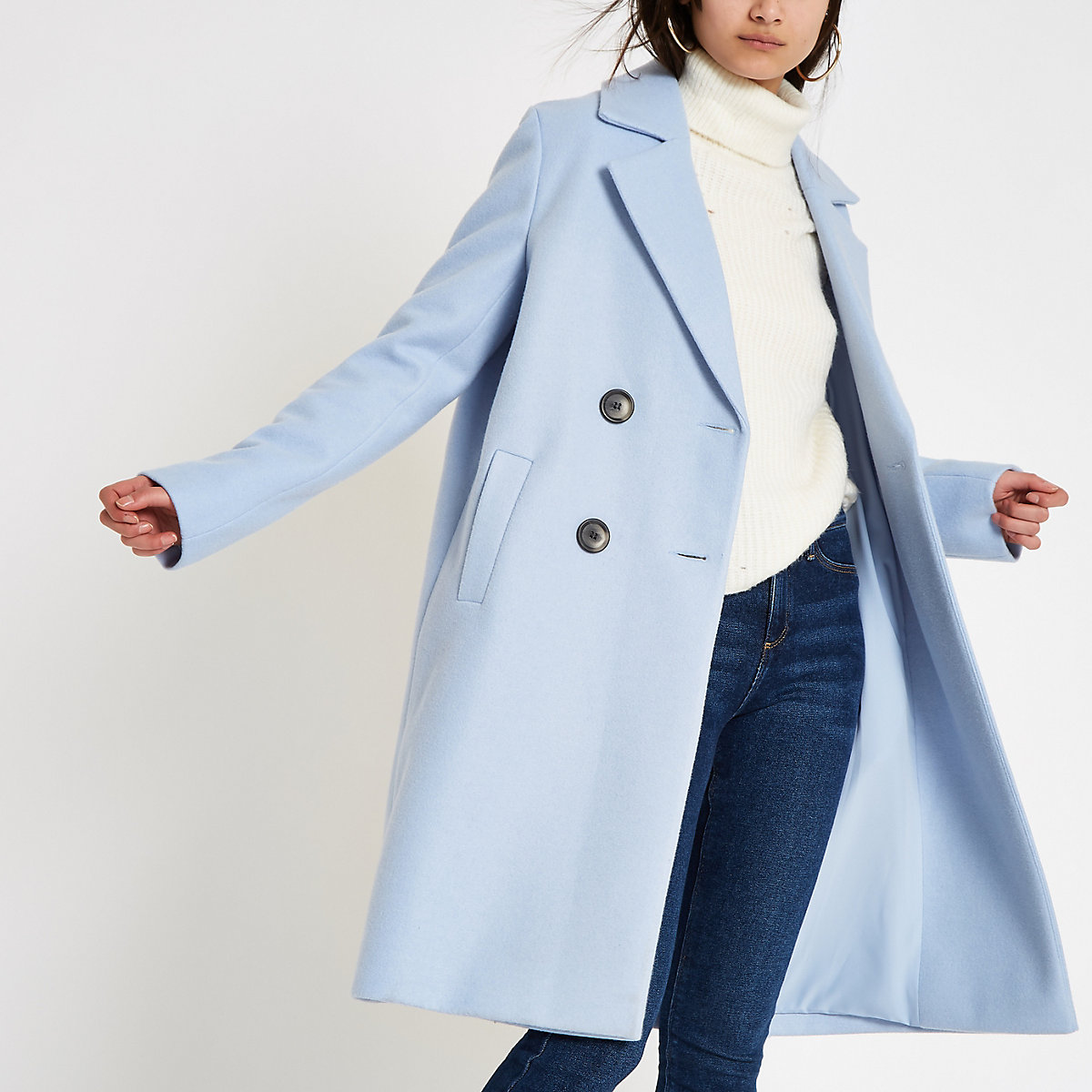 Blue knit double breasted coat