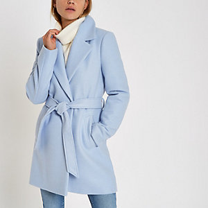 Blue wool belted robe coat