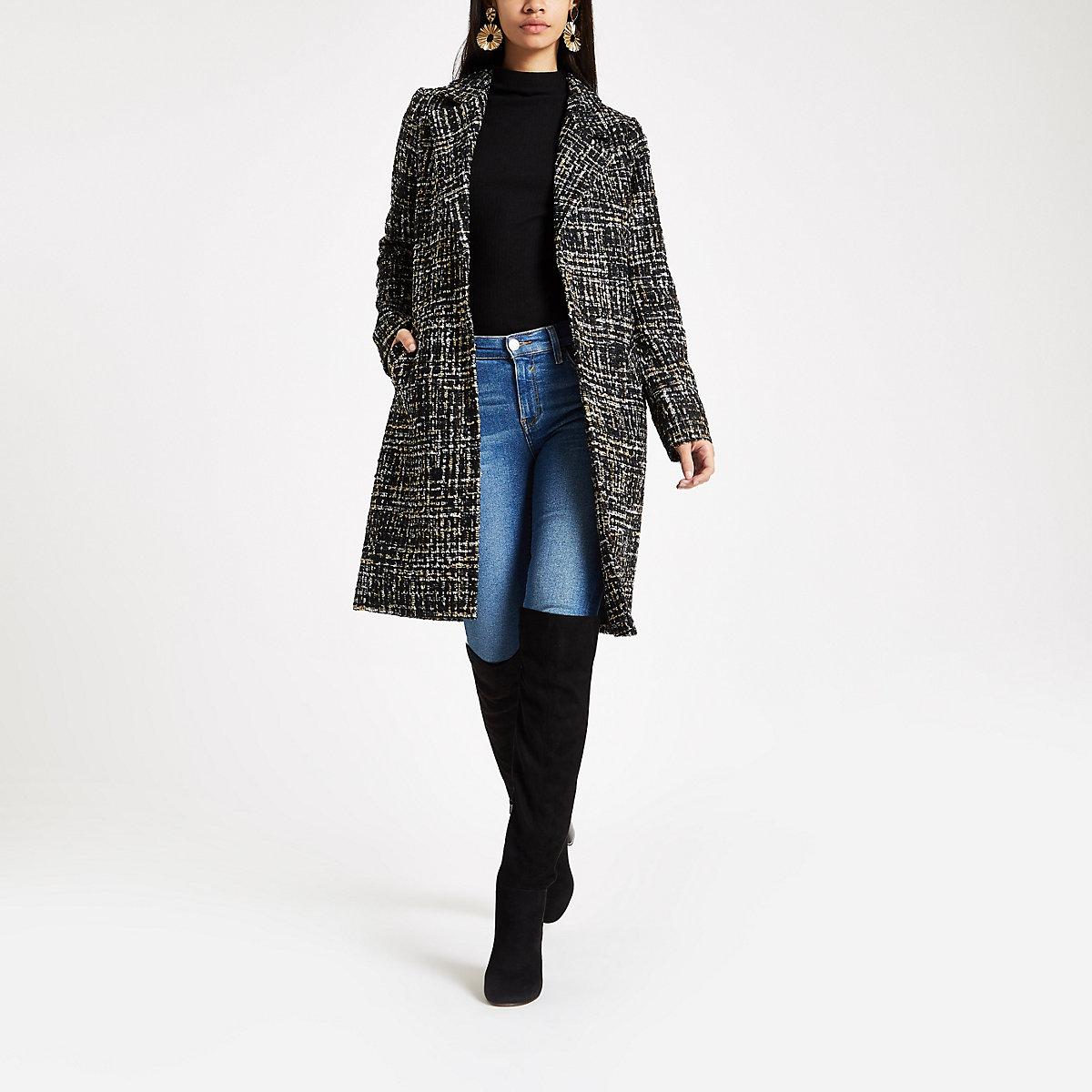 Black boucle single breasted coat