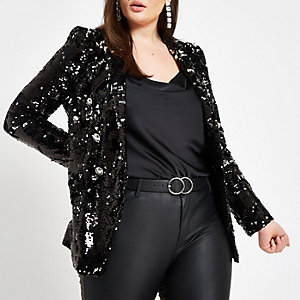 Plus black sequin double breasted blazer