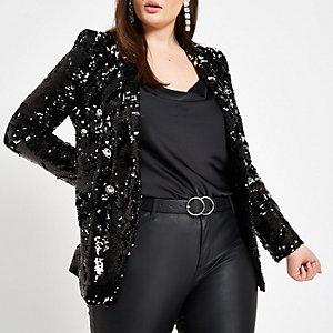 Plus black sequin double breasted blazer