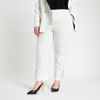 Plus Cream Button Trim Cigarette Trousers by River Island