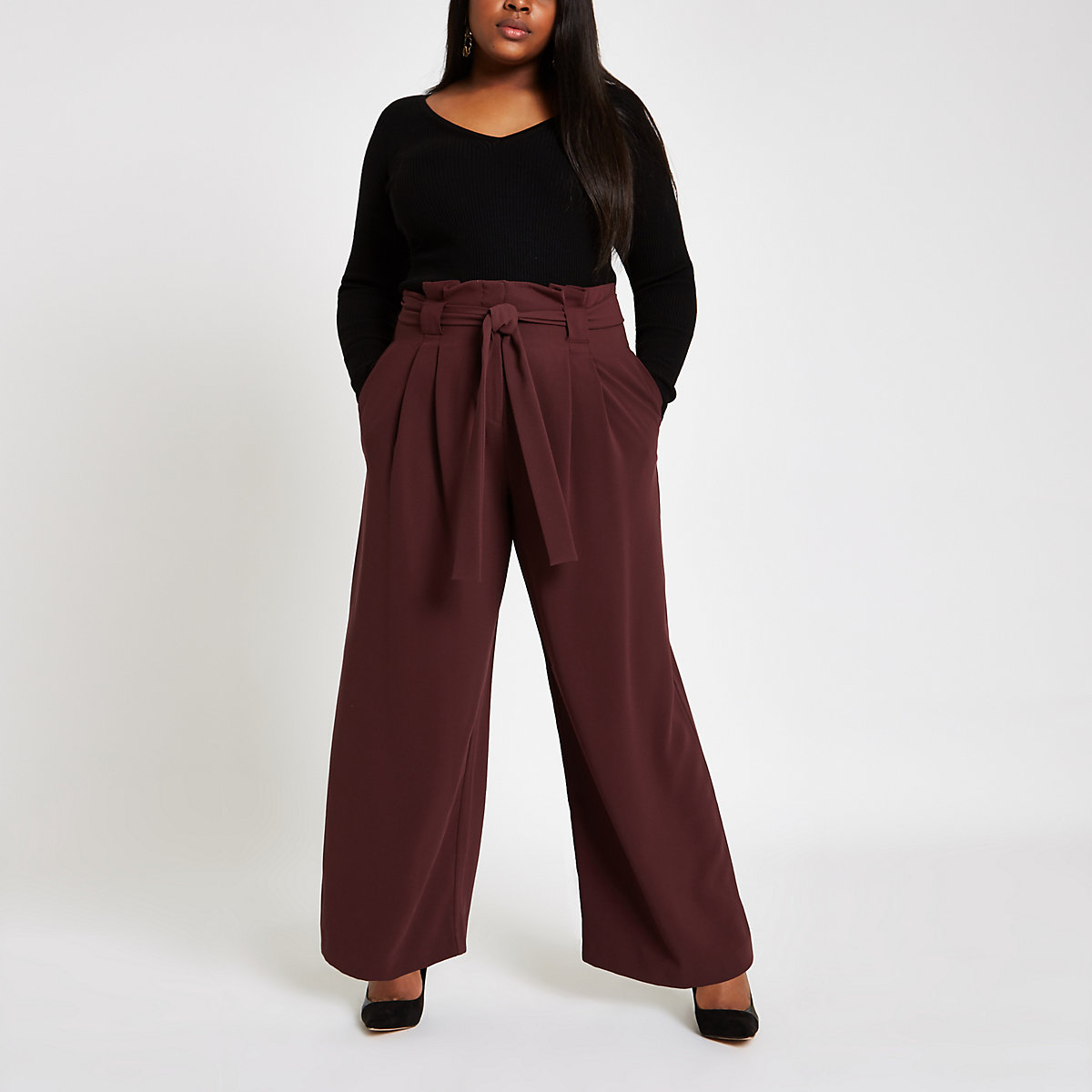 Plus burgundy paperbag wide leg  trousers