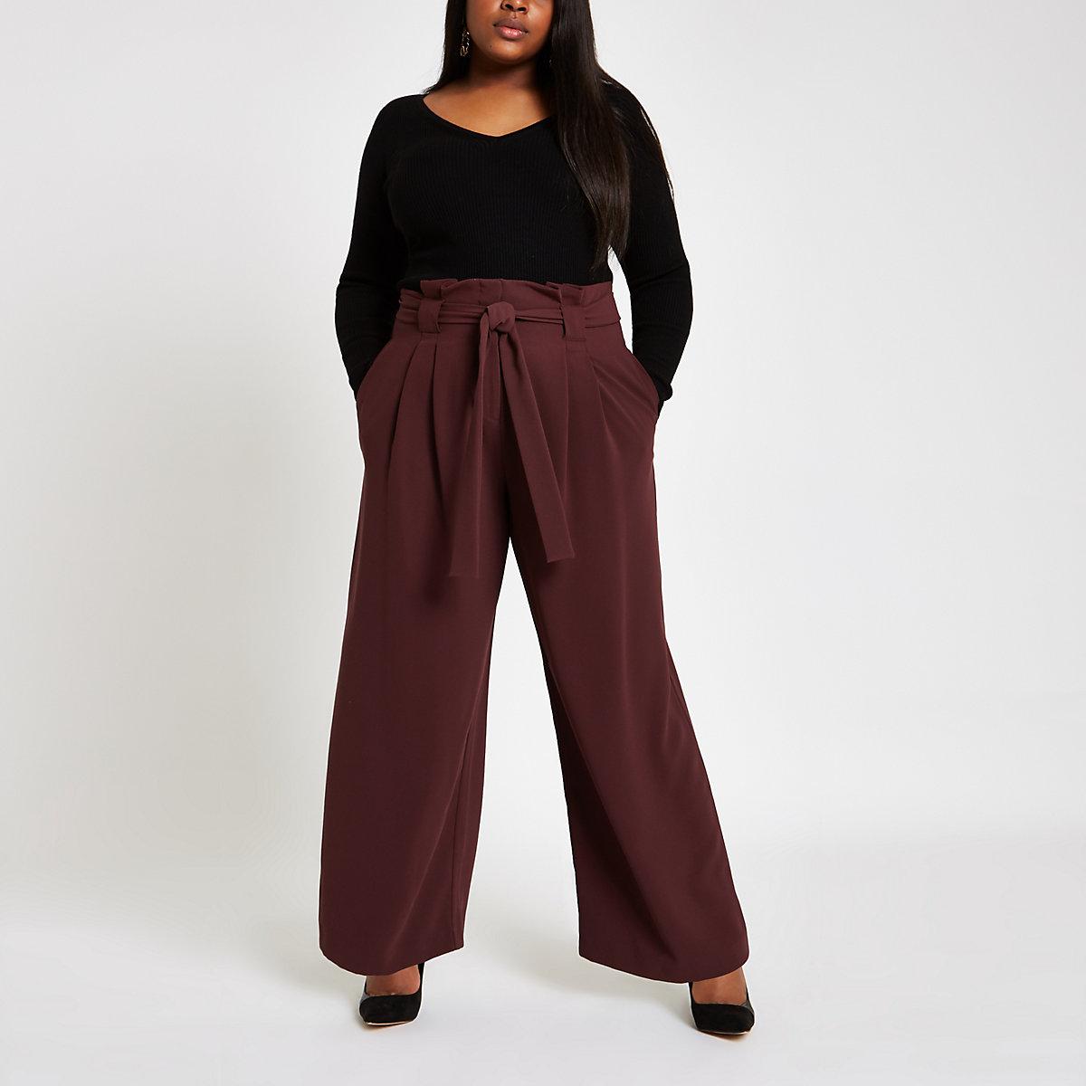 Plus burgundy paperbag wide leg pants