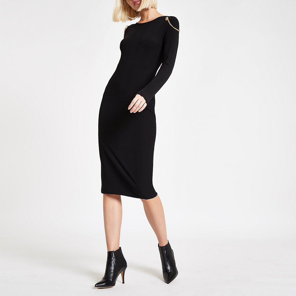 Schwarzes Bodycon-Kleid in Midilänge
