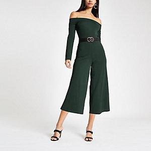 Groene jumpsuit met bardothals en wijde pijpen