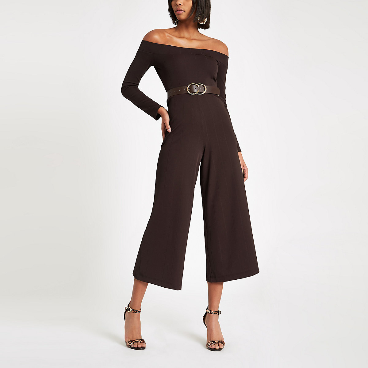 Dark brown bardot neck wide leg jumpsuit