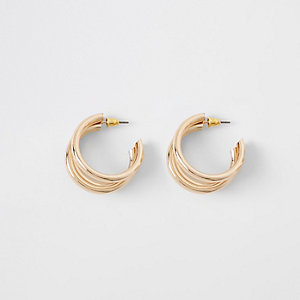 Gold tone triple layered hoop earrings