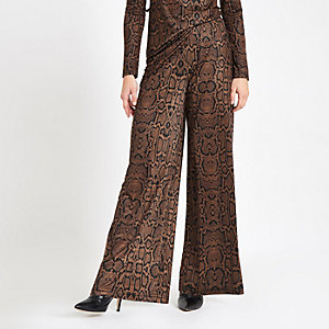 Petite brown snake print wide leg trousers