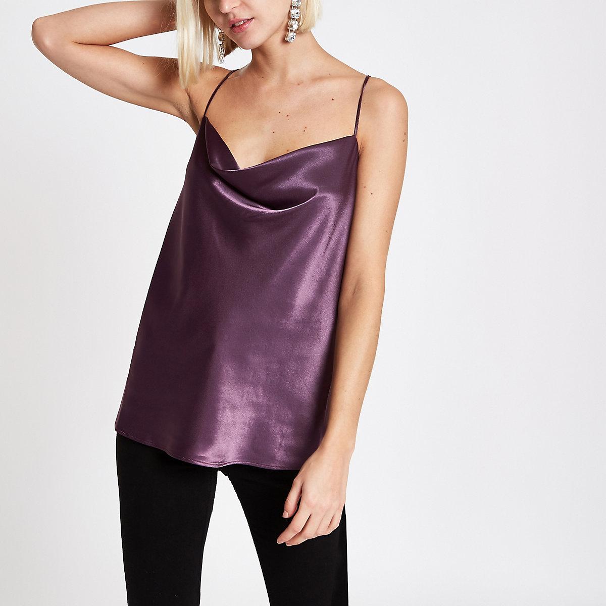Purple cowl neck cami top