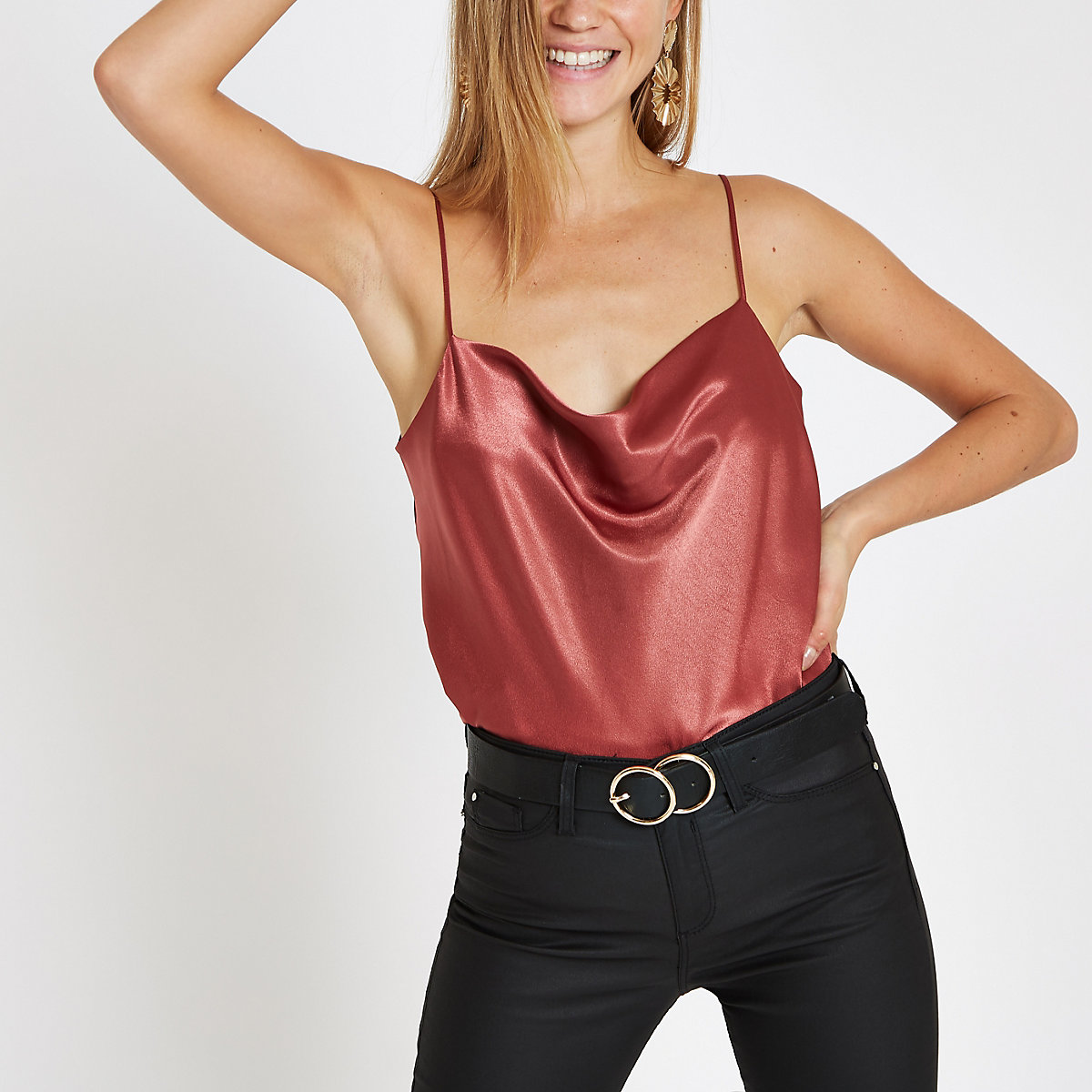 Rust cowl neck cami top