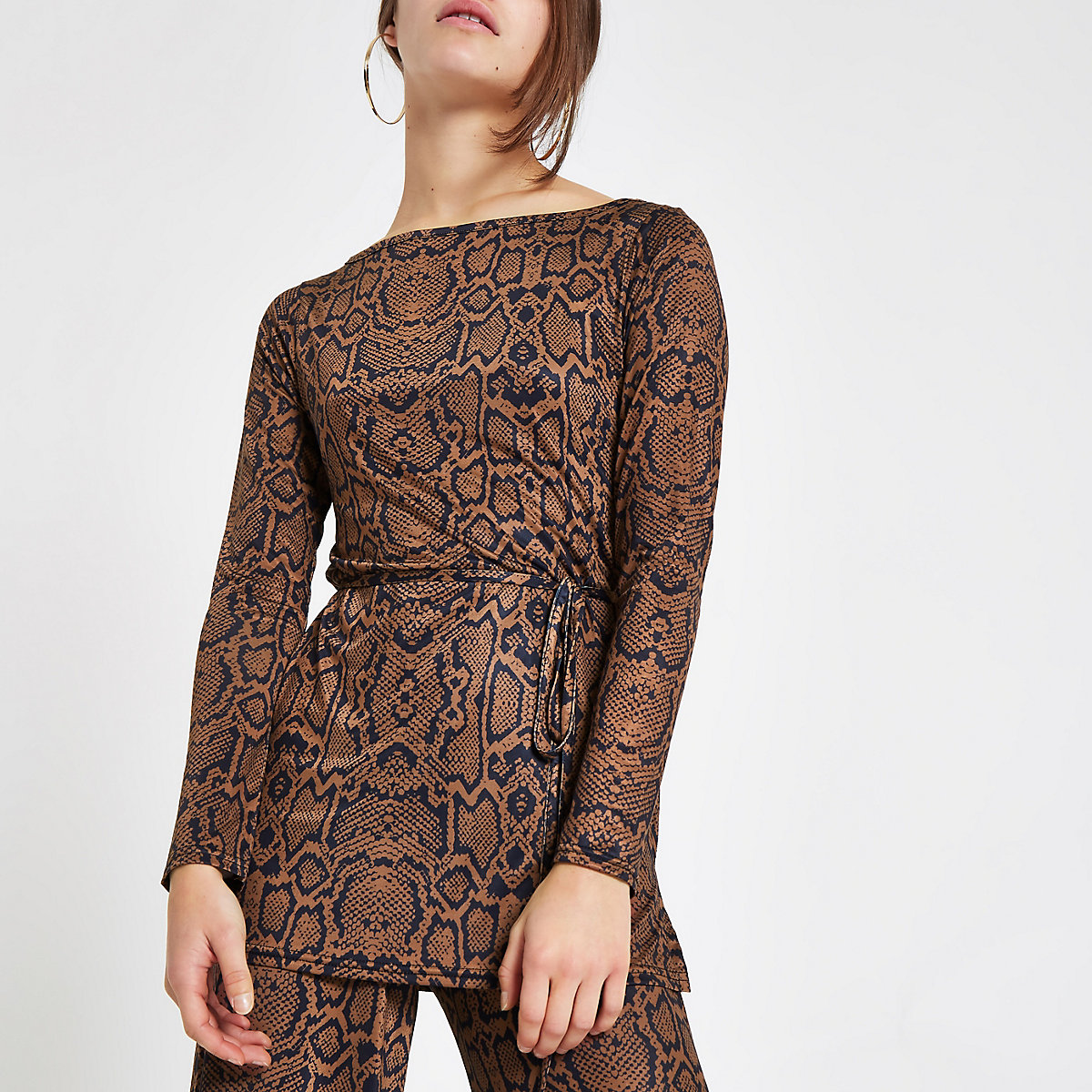Petite brown snake print belted tunic
