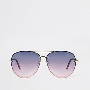 Lunettes de soleil aviateur dorées à verres violets