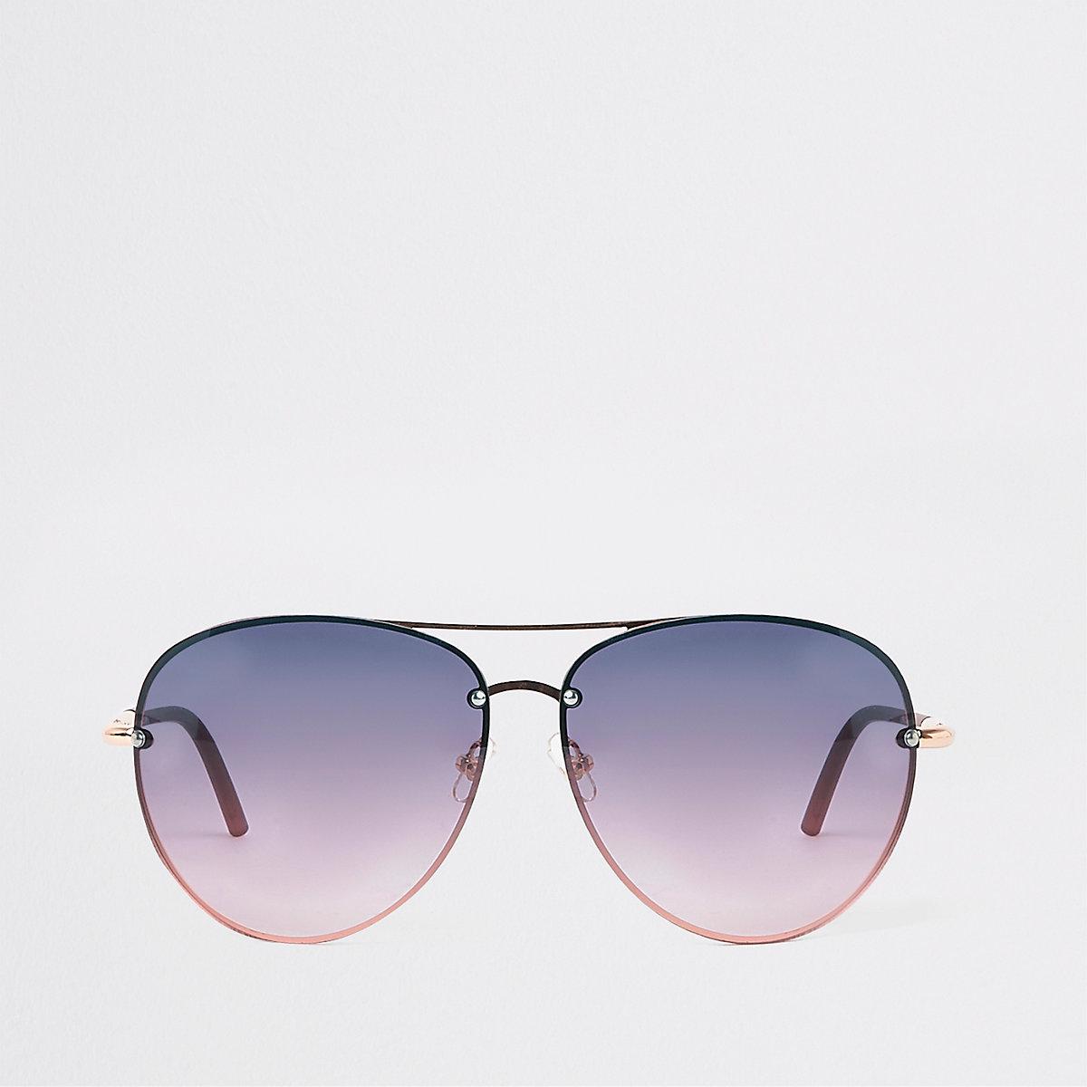 Gold tone purple lens aviator sunglasses